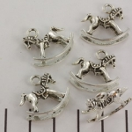 charm rocking horse 18 mm - silver