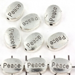 oval flat with text 12 mm - peace silver