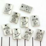 charm rectangle 16 mm - smile a lot silver