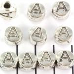 metalen alfabet letter kraal - zilver A