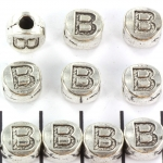 metalen alfabet letter kraal - zilver B