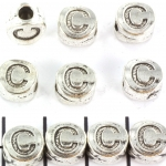 metal alphabet letter bead - silver C