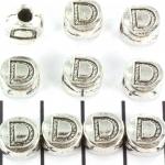 metalen alfabet letter kraal - zilver D
