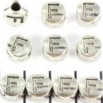 metalen alfabet letter kraal - zilver F