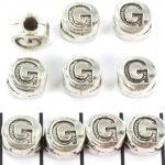 metalen alfabet letter kraal - zilver G