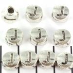 metalen alfabet letter kraal - zilver J