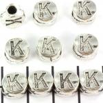 metalen alfabet letter kraal - zilver K