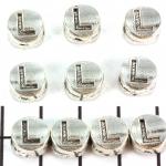 metalen alfabet letter kraal - zilver L