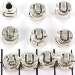metalen alfabet letter kraal - zilver U