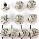 metalen alfabet letter kraal - zilver V