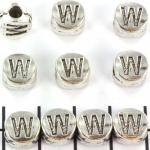 metalen alfabet letter kraal - zilver W