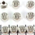 metal alphabet letter bead - silver W