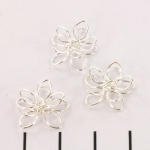 bead cap metal flower - light silver