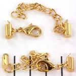 metalen klemmetje met slotje en verlengketting  - goud 8 mm