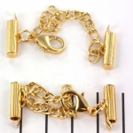 metal clip with clasp and extension chain - gold 15 mm