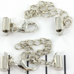 metal clip with clasp and extension chain - silver 8 mm