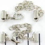 metalen klemmetje met slotje en verlengketting  - zilver 8 mm