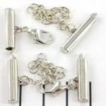 metalen klemmetje met slotje en verlengketting  - zilver 23 mm