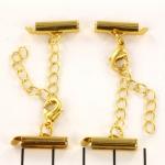 metalen klemmetje met slotje en verlengketting  - goud 15 mm