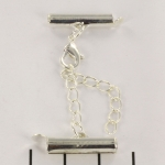 metal clip with clasp and extension chain - light silver 18 mm