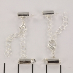 metal clip with clasp and extension chain - lilght silver 8 mm