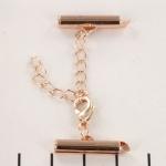 metalen klemmetje met slotje en verlengketting  - zacht rose goud 20mm