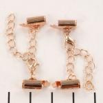 metalen klemmetje met slotje en verlengketting  - zacht rose goud 8mm