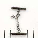 metalen klemmetje met slotje en verlengketting  - zwart 25 mm