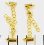 metal clip with clasp and extension chain - gold 8 mm