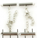 metal clip with clasp and extension chain - silver 18 mm