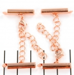metal clip with clasp and extension chain - rose gold 19 mm