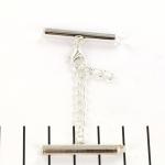 metalen klemmetje met slotje en verlengketting  - lichtzilver 28 mm
