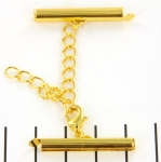 metal clip with clasp and extension chain - gold 28 mm