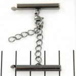metal clip with clasp and extension chain - black 28 mm