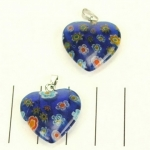 millefiori heart - dark blue