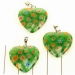 millefiori heart - green