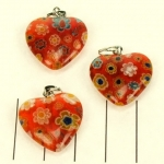 millefiori heart - red