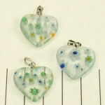 millefiori heart - white