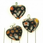 millefiori heart - black