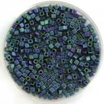 miyuki cubes 1.8mm - metallic matte iris blue green