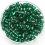 miyuki cubes 3x3 mm - silverlined matte emerald