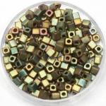 miyuki cubes 3mm - metallic matte khaki iris