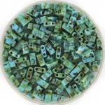 miyuki half tila 5x2.3 mm - opaque picasso turquoise blue