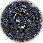 miyuki half tila 5x2.3 mm - metallic iris variegated blue