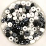 miyuki seed beads 6/0 - black and white