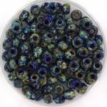 miyuki seed beads 6/0 - opaque picasso cobalt