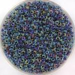 miyuki rocailles 11/0 - noir lined crystal ab