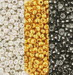 miyuki seed beads 11/0 - plated silver and gold