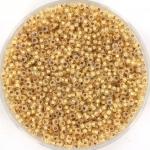 miyuki seed beads 15/0 - 24kt yellow gold lined opal