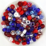 miyuki seed beads 6/0 - mix fourth of july
